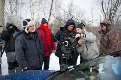 Режиссер картины Александр Баранов со съемочной группой